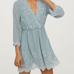 NWT H&M Blue Dress with White Lace